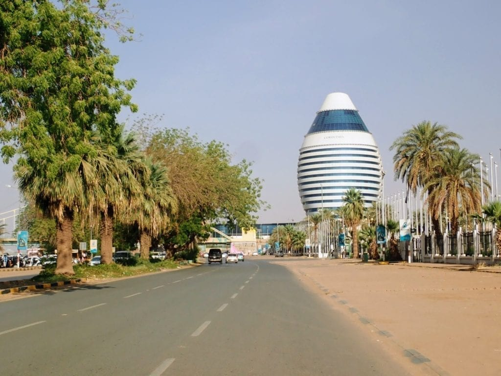 Road in Khartoum with interesting hotel