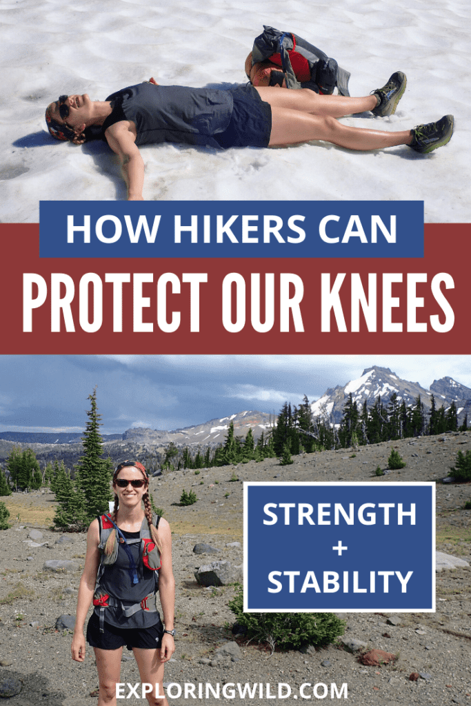 Picture of hiker lying down and hiker standing with text: how to conquer knee pain for good