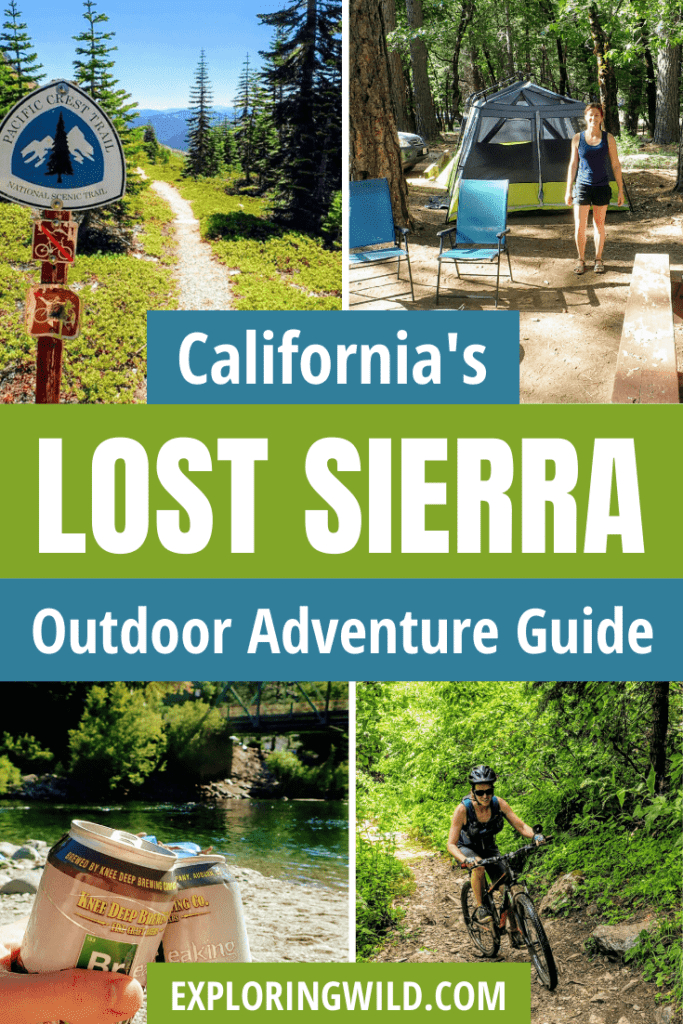 Pictures of hiking, camping, biking with text: California's Lost Sierra Outdoor Adventure Guide