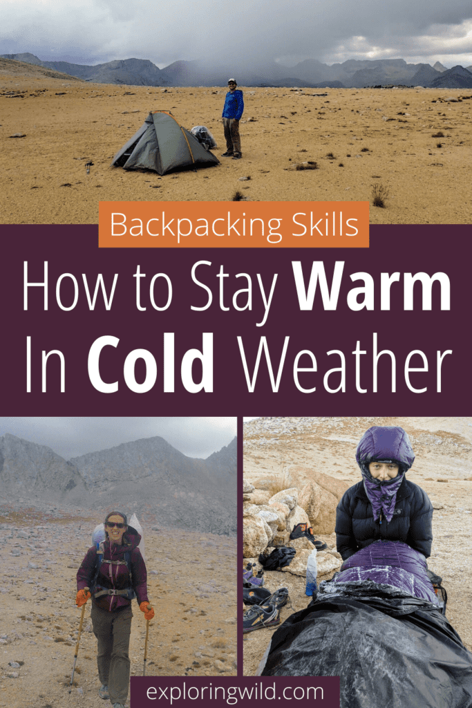Pictures of hiking and camping with text: 30 tips for staying warm while backpacking