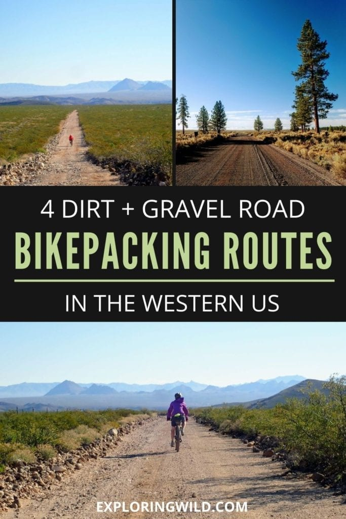 Pictures of bikepacking with text: 4 dirt and gravel road bikepacking routes in the western US