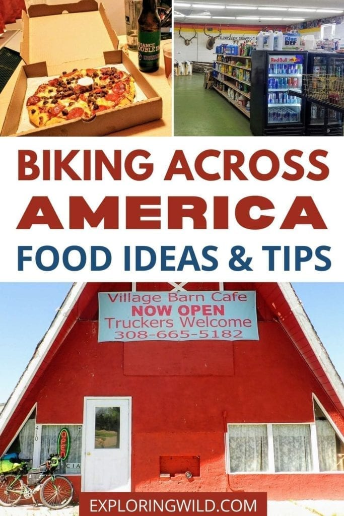 Pictures of pizza and cafe with text: Biking Across America Food Ideas and Tips
