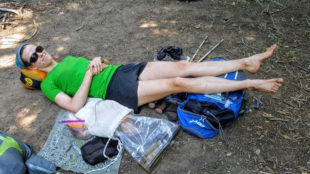 Hiker taking break