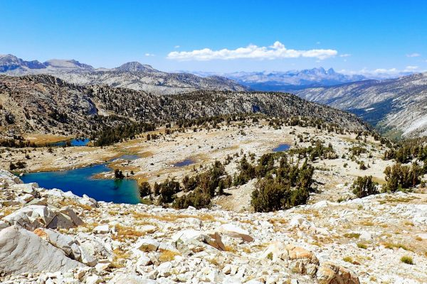View of granite basins and lakes on John Muir Trail