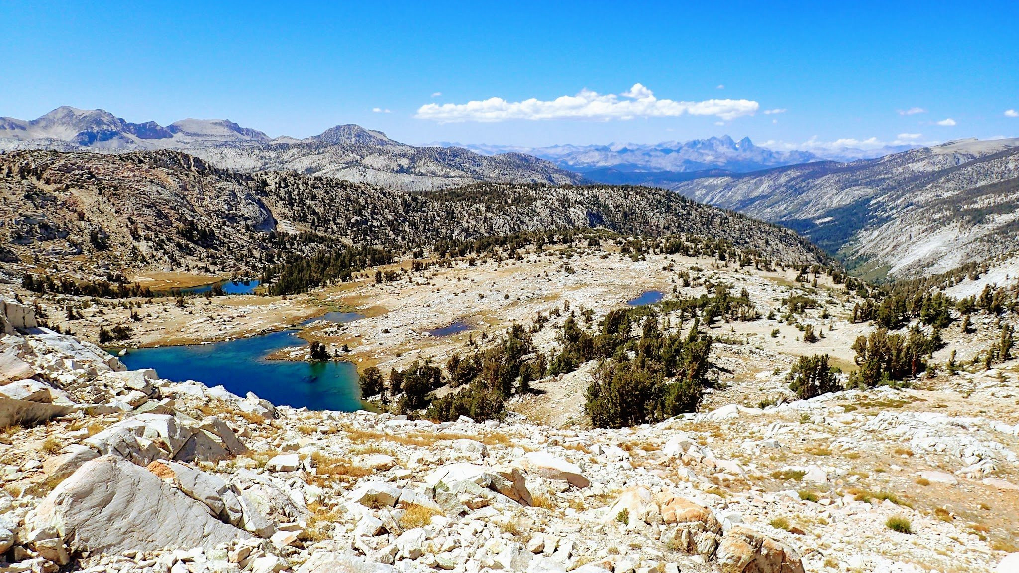 View of granite basins and lakes on John Muir Trail