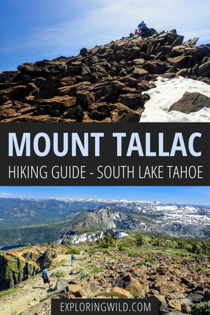 Pictures of mountains with text: Mount Tallac Hiking Guide - South Lake Tahoe