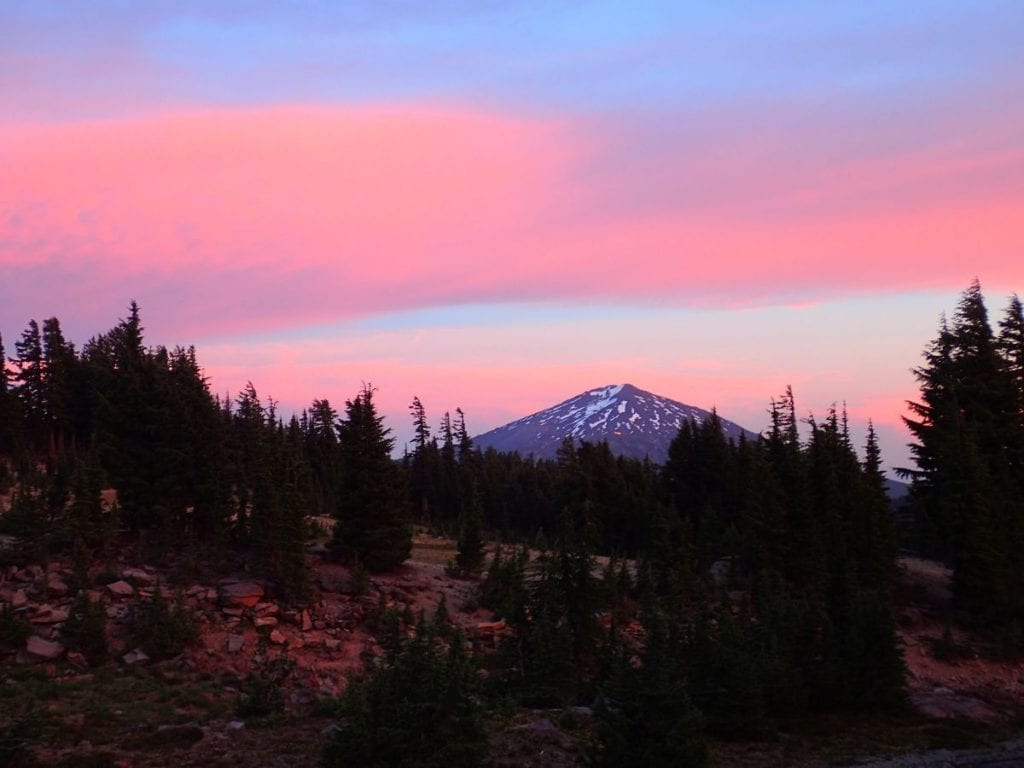 Sunset over volcanic Mt. Bachelor in the distance