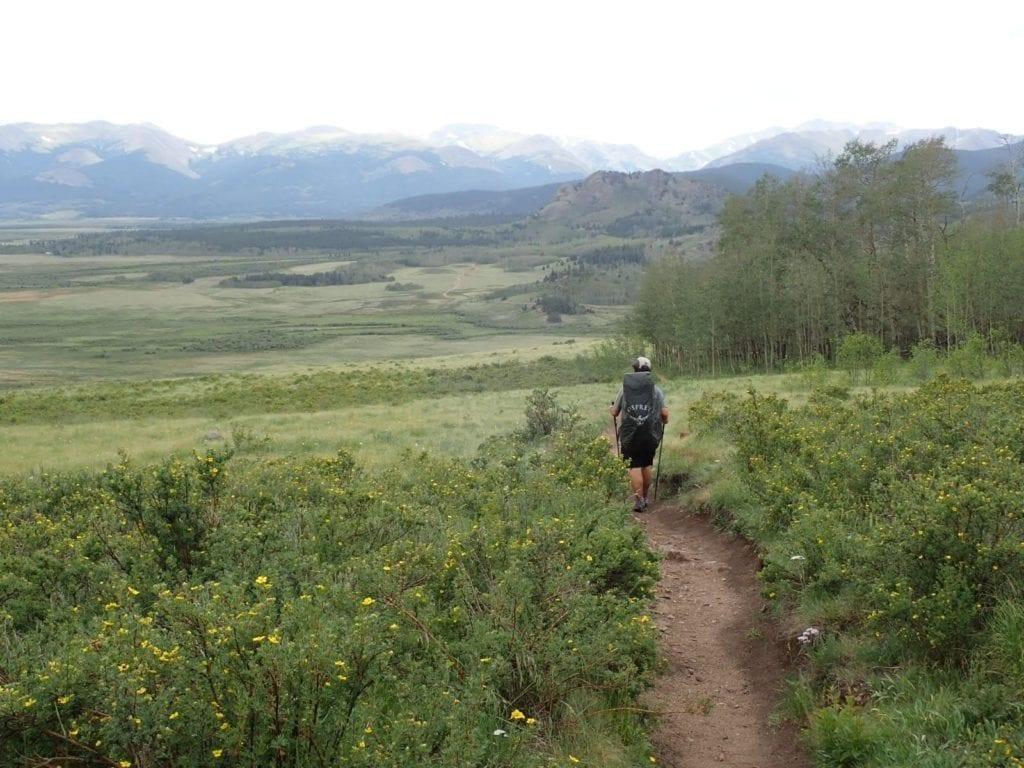 Male backpacker walks downhill on Segment 5 of Colorado Trail into green basin