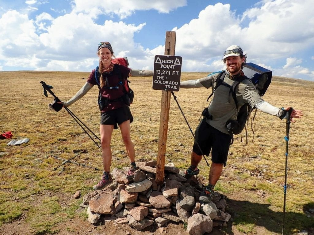 Two backpackers at the high point of the Colorado Trail