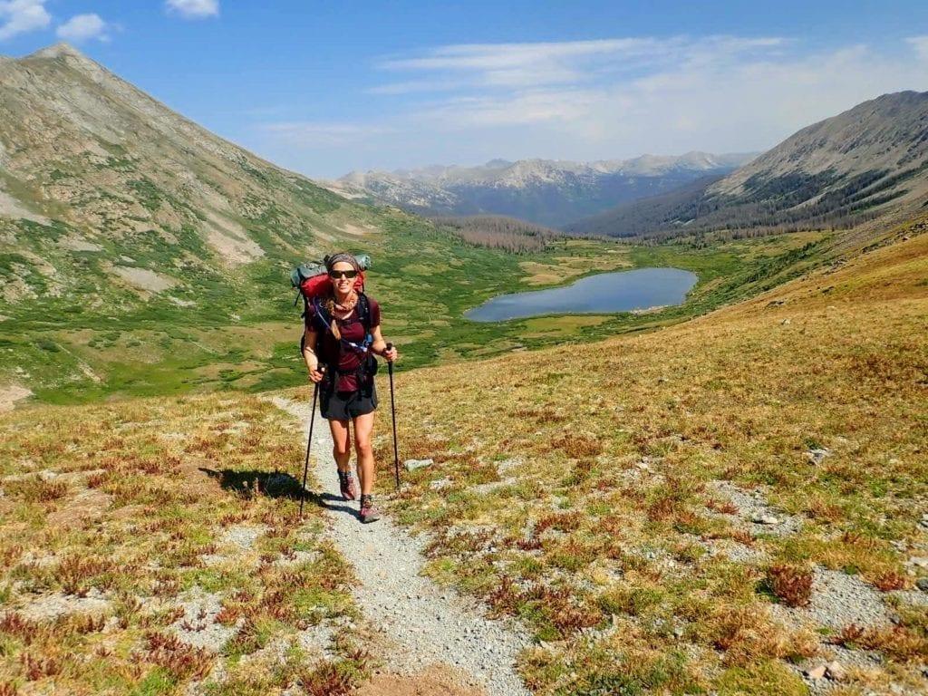 Hiker near Chalk Creek Pass on Colorado Trail