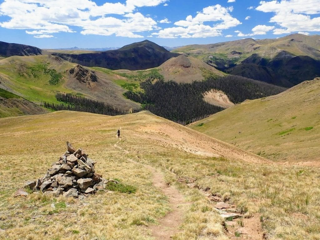 Hiker in distance on Colorado Trail