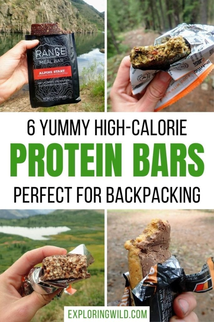 Pictures of protein bars outside with text: 6 yummy high-calorie protein bars perfect for backpacking