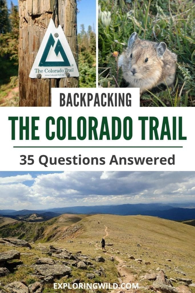 Pictures of mountain landscapes with text: backpacking the Colorado Trail, 35 questions answered