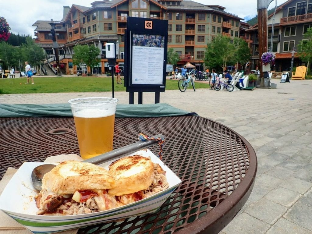 Sandwich and beer at Copper Mountain Resort