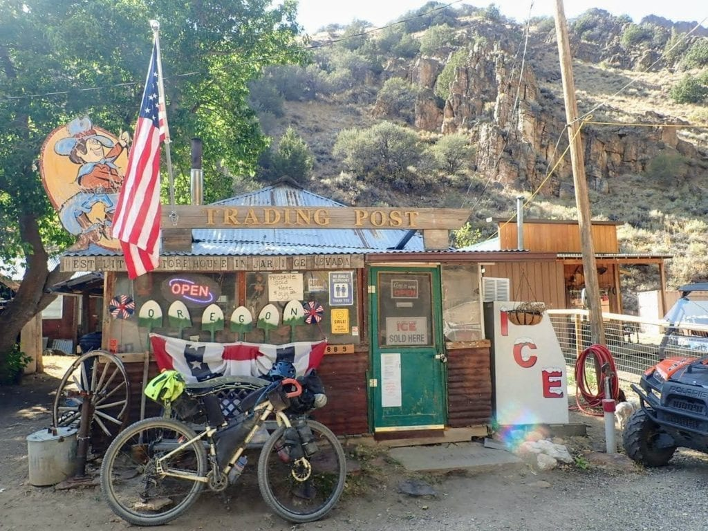 Jarbidge Trading Post: funky small store with bicycle parked outside