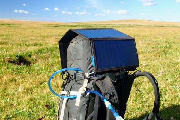 BigBlue solar panel on hiking backpack