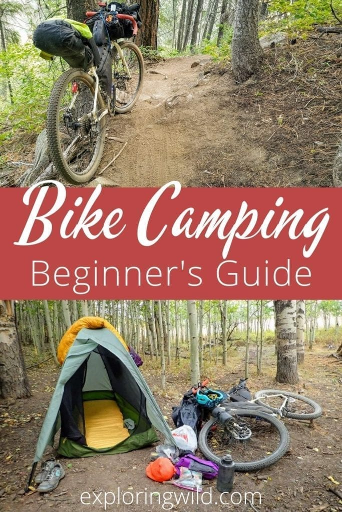 Picture of bike on forest trail with text: Beginner's Guide to Bike Camping