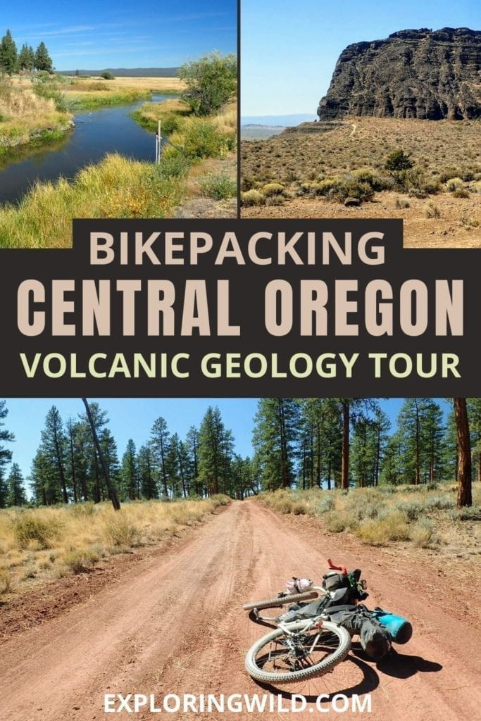 Pictures of gravel roads and bikes with text: bikepacking Central Oregon volcanic geology tour