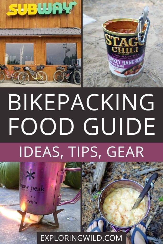 Pictures of food and text: Bikepacking food guide