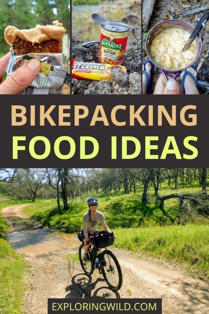 Pictures of food and text: Bikepacking food ideas