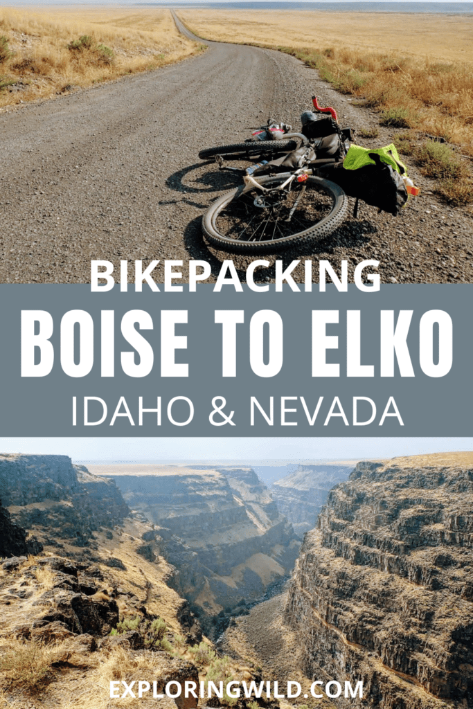 Pictures of gravel road and canyon with text: bikepacking Boise to Elko, Idaho and Nevada