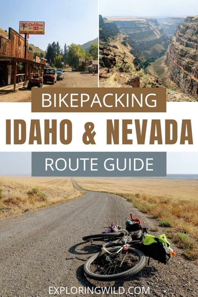 Pictures of dirt roads and bike with text: bikepacking Idaho and Nevada