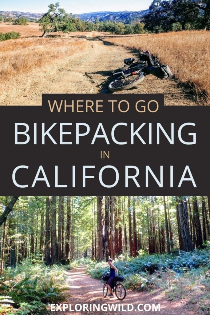 Pictures of bike trails with text: Bikepacking in California