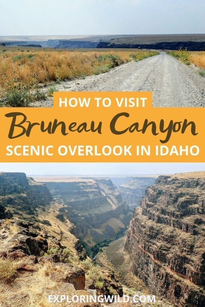 Picture of canyon with text: How to Visit Bruneau Canyon Overlook, Idaho
