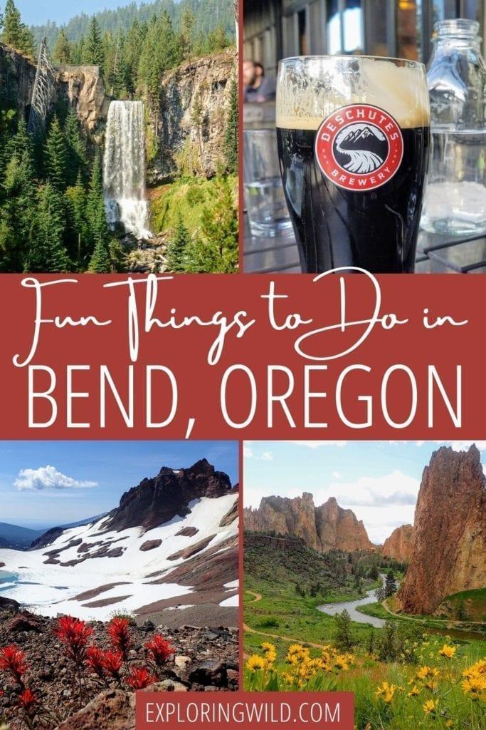 Pictures of nature with text: Fun things to do in Bend, Oregon