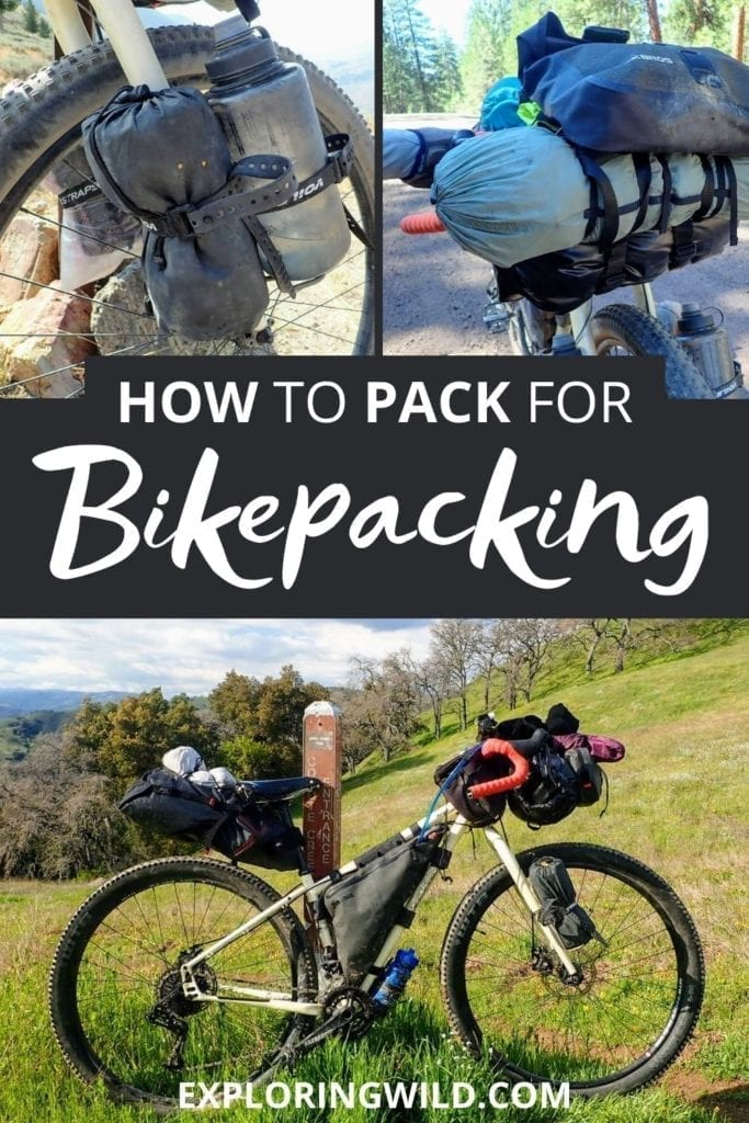 Pictures of bike gear with text: How to pack for bikepacking