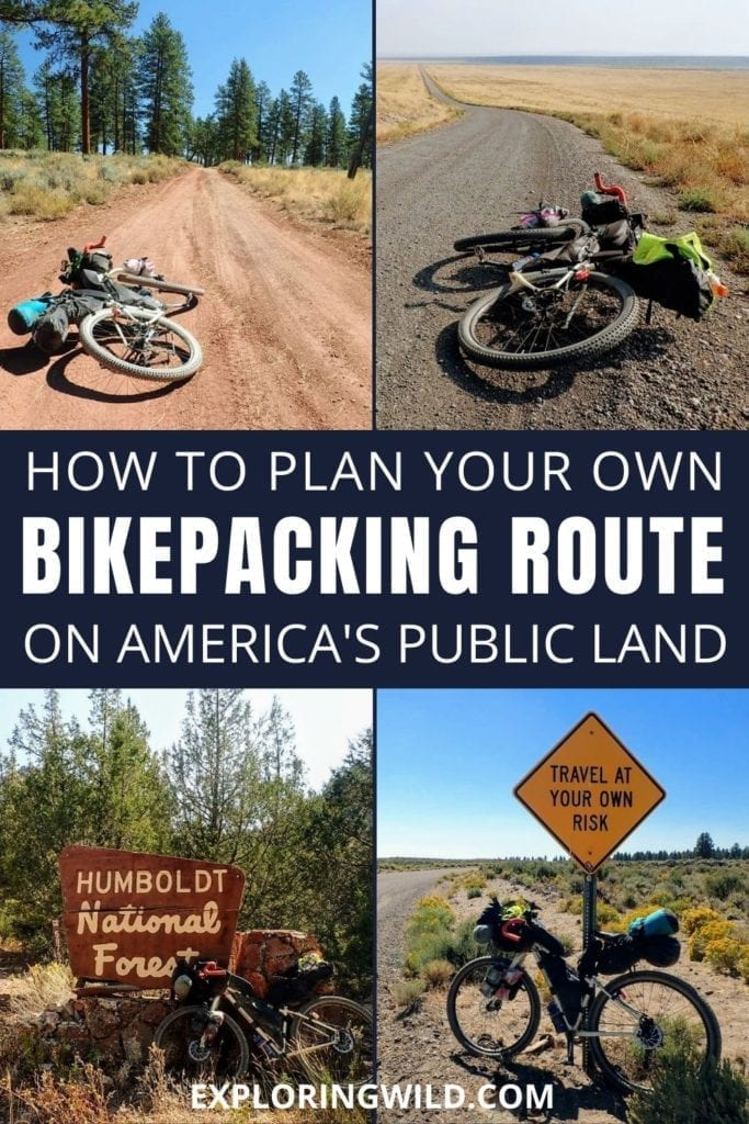 Pictures of bikes and dirt roads with text: How to plan your own bikepacking route on America's public land