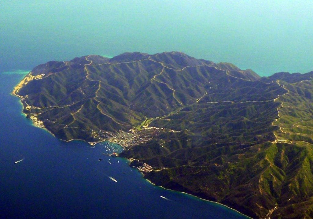 Aerial view of Catalina Island and dirt roads on ridgelines