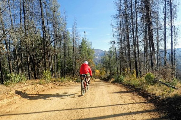 Bikepacker on dirt road in Mendocino National Forest