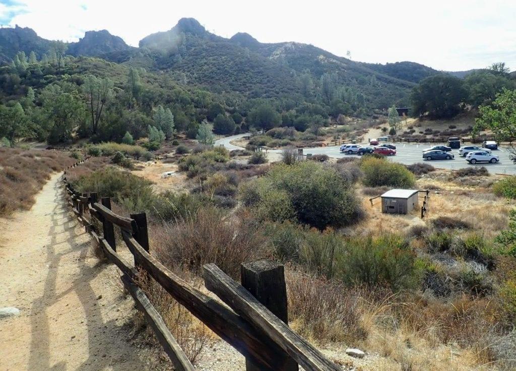 Trail and parking lot at Pinnacles National Park