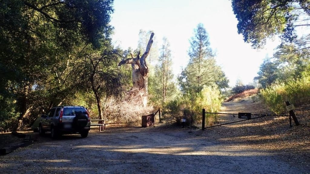 Car parked at end of dirt road in campground