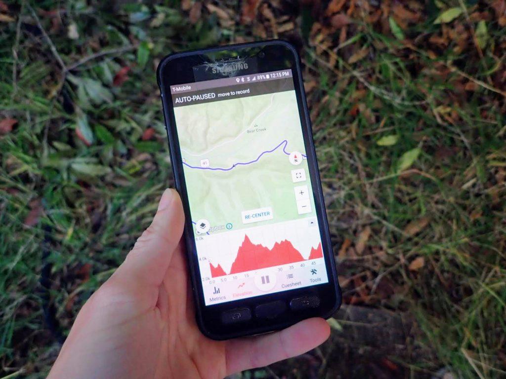 Smartphone with bike navigation app