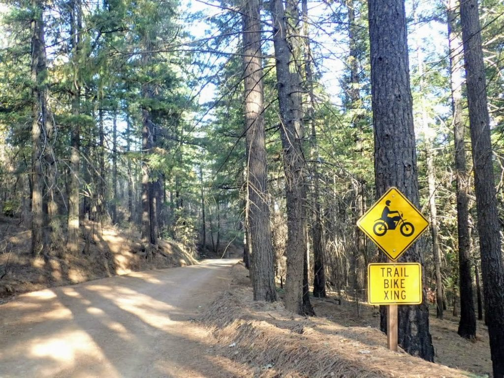 "Sign on dirt road says ""Trail bike xing"""