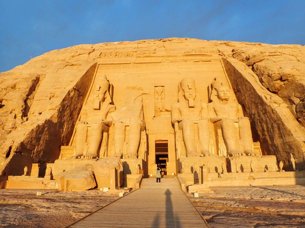 Morning light shines on entrance to Abu Simbel temple