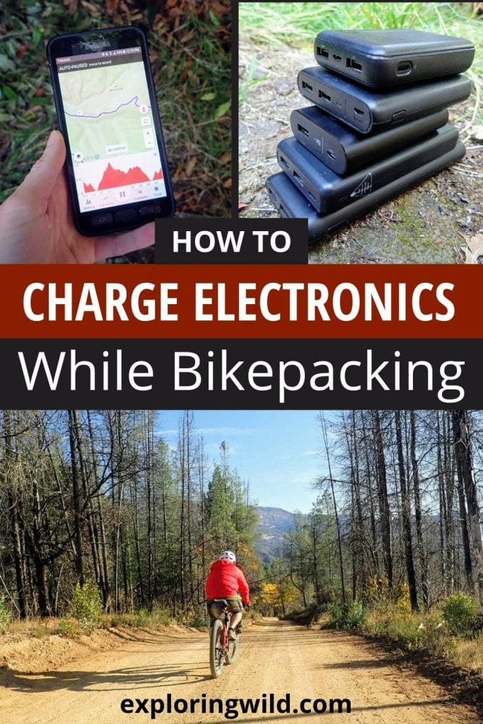 Pictures of phone and powerbanks with bike and text: best ways to charge electronics while bikepacking