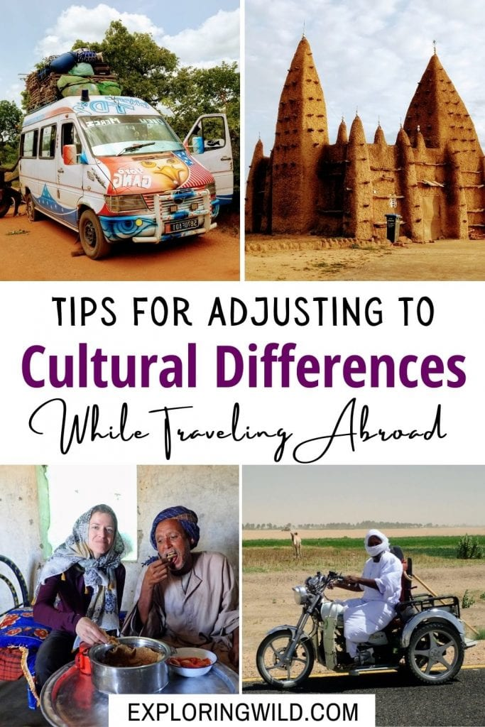 Travel pictures with text: tips for coping with culture shock while traveling