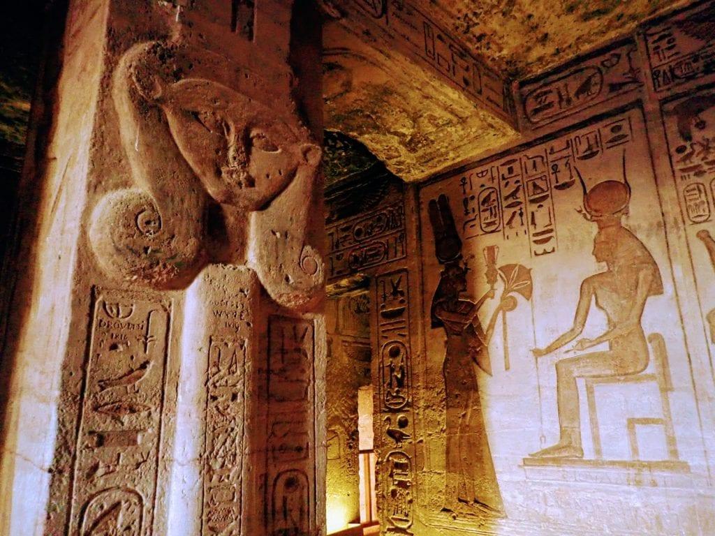 Carvings inside the temple of Nefertari at Abu Simbel