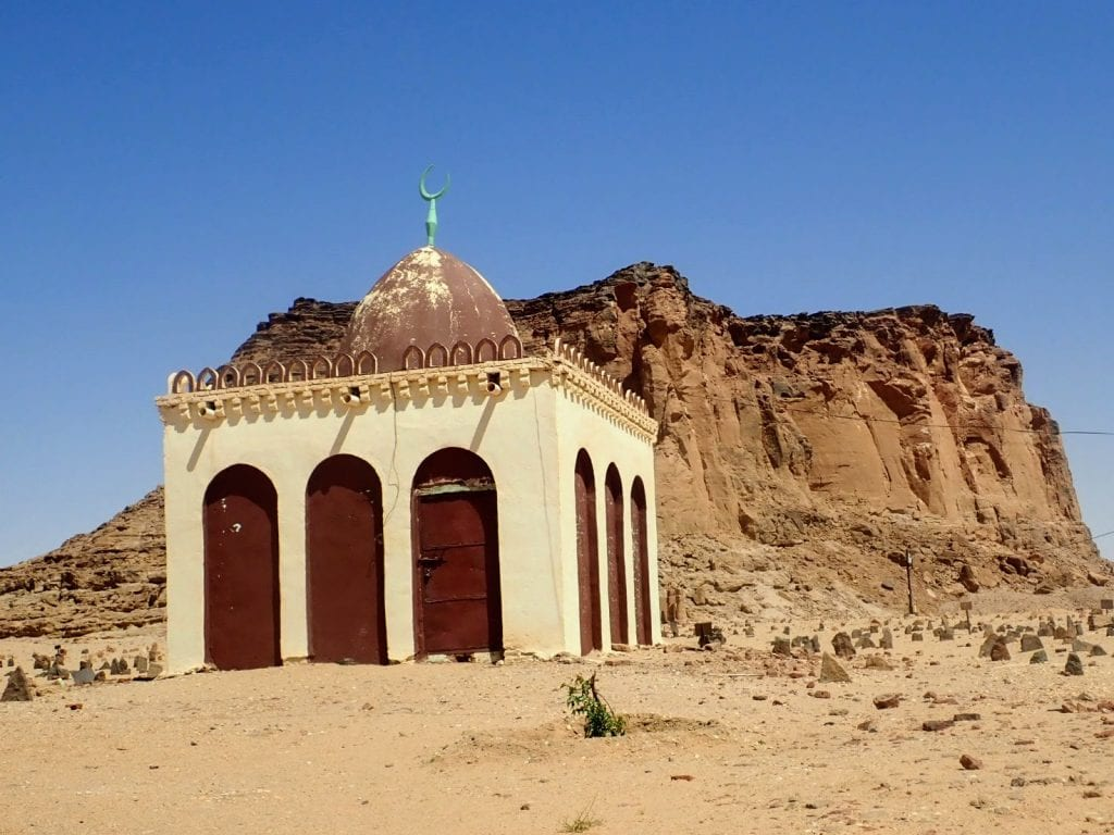 Small mosque in front of jebel in Karima, Sudan