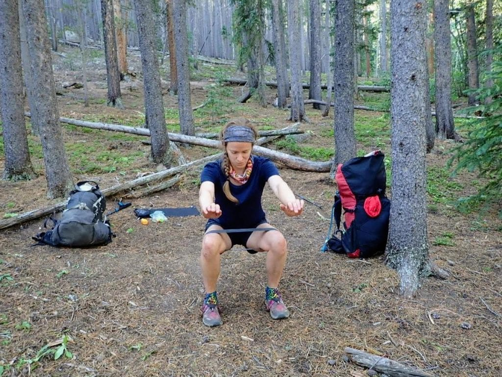 Hiker squats with resistance band