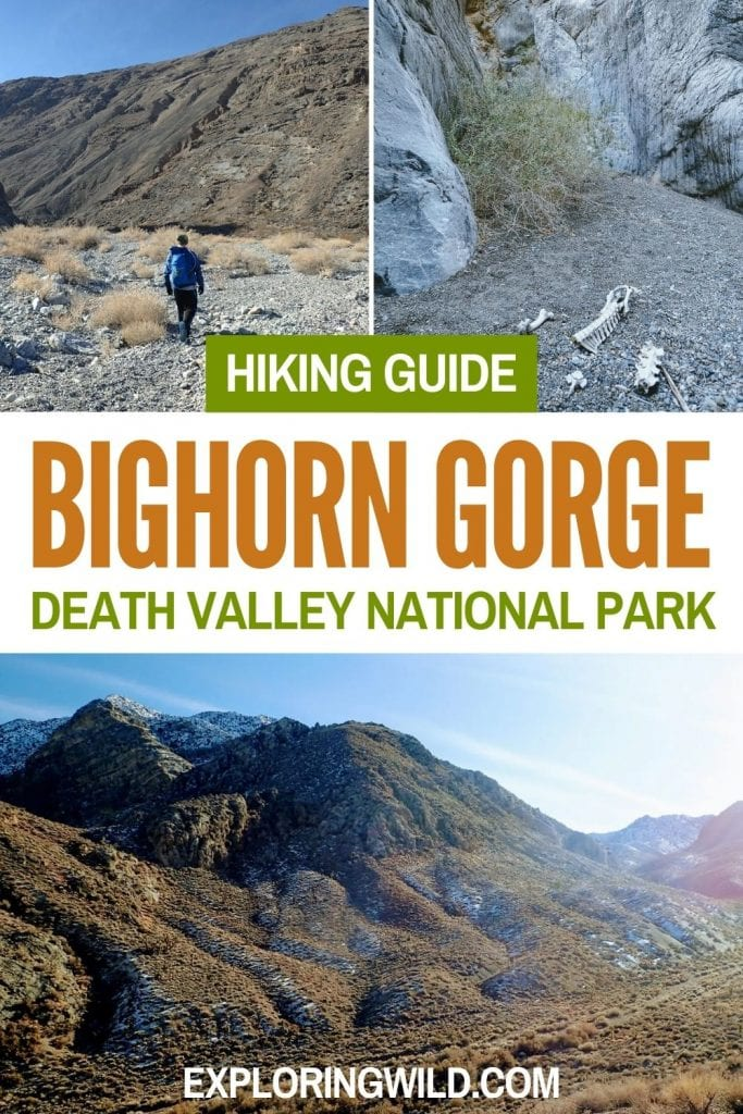 Pictures of desert canyon with text: Hiking guide, Bighorn Gorge, Death Valley National Park