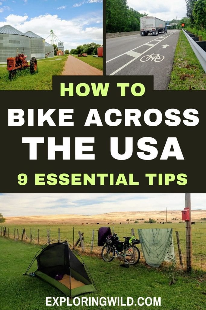 Pictures of roads and bike trails with text: How to bike across the USA: 9 essential tips