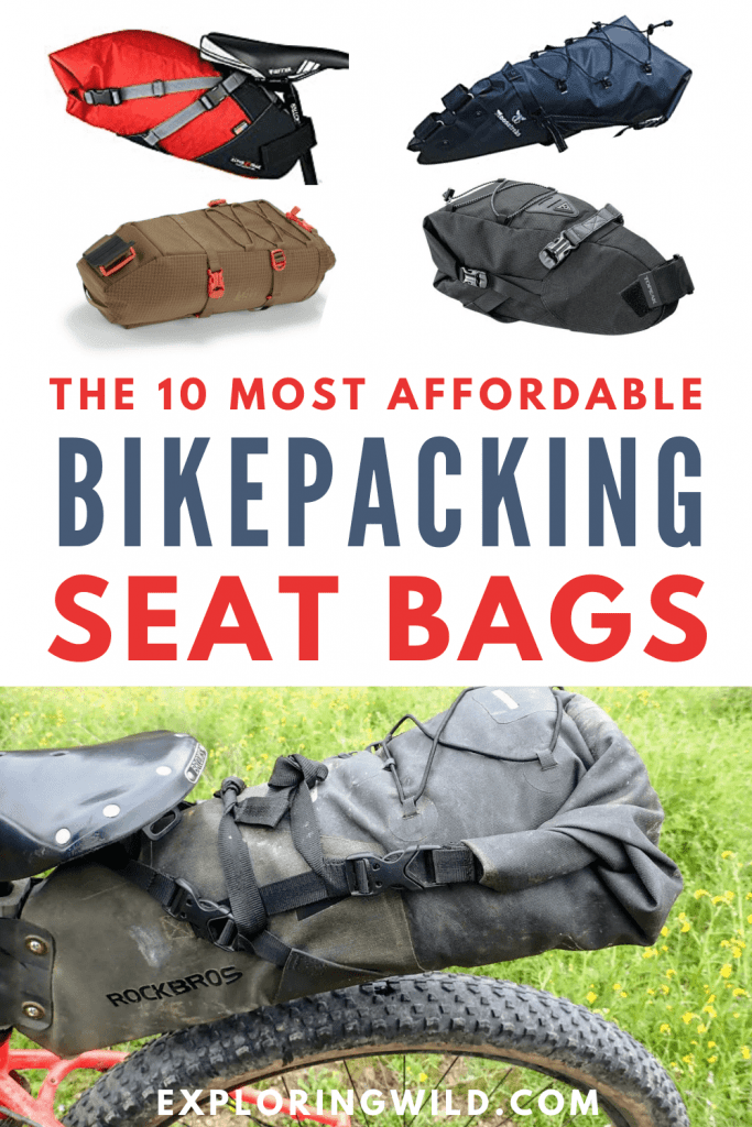 Pictures of seat bags with text: 10 most affordable bikepacking seat bags