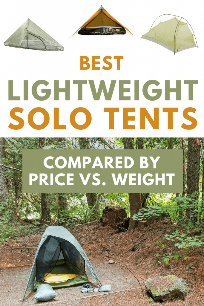 Pictures of 1 person tents with text: Lightweight solo tents compared by price vs. weight