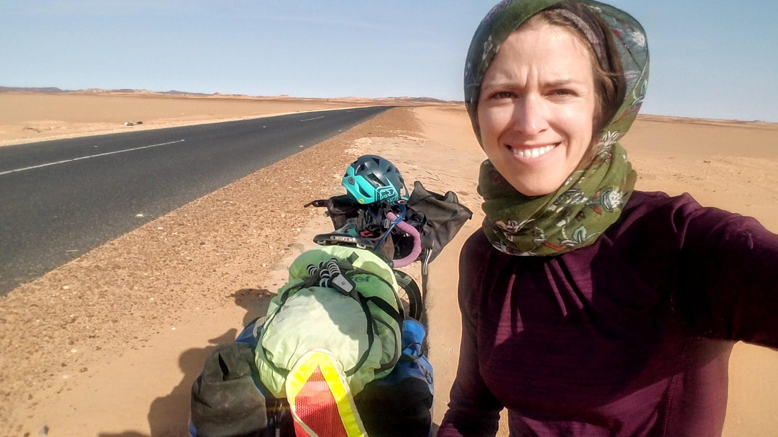 Female traveler wearing headscarf in Sudan