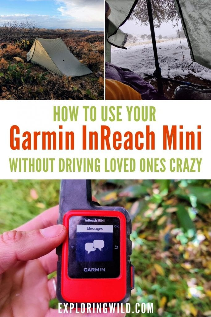 Pictures of Garmin InReach Mini Satellite Messenger and backpacking