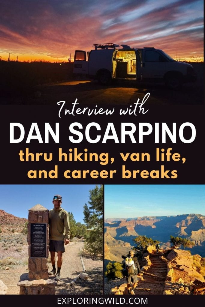 Pictures of van and hiker